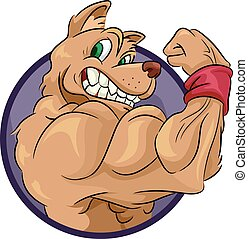 Mascot Muscular Dog Pose - Mascot Illustration of a Muscular...