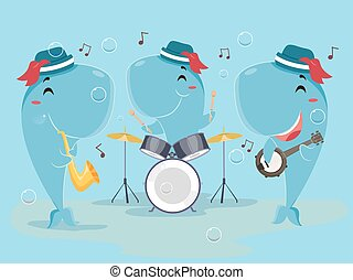 Mascot Whale Music Band - Cute Animal Illustration of a...