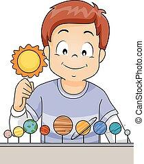 niño, niño, planetas, arreglar