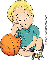Kid Boy Basketball Tired - Illustration of a Little Boy...