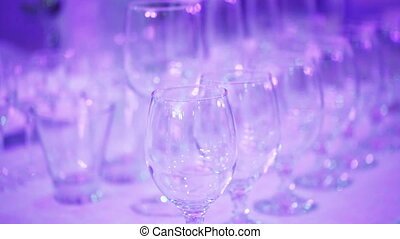 Several wine glasses on table - Refocus with number of wine...