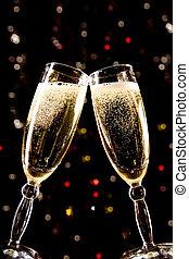 dois, champanhe, ÓCULOS, fazer, brinde