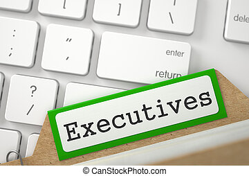 Index Card with Executives. 3D. - Green Folder Index with...