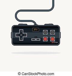 Old style gamepad - Classic and futuristic flat line style...