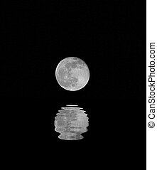 huge full moon with the reflection on the water