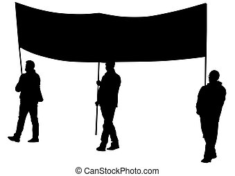 Banner on white background - People of with large flags on...