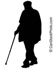 Elderly man on white - Elderly people with cane on white...