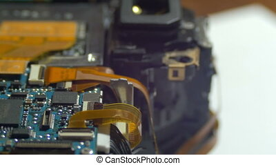 Circuit Board with Radio Components. Close-up of electronic...