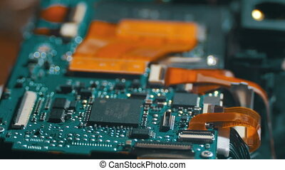 Electronic Circuit with Radio Components. Close-up of...