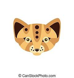 Fennec Fox African Animals Stylized Geometric Head. Flat...
