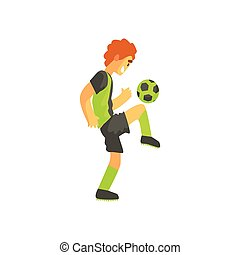 Football Player With Ball On The Knee Isolated Illustration