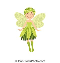 Cute Forest Fairy Girly Cartoon Character.Childish Design...