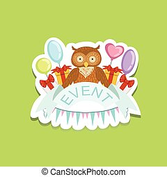 Event Template Label Cute Sticker With Owl