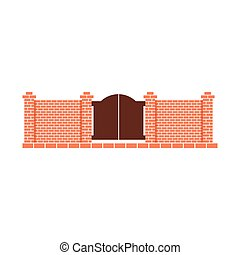 Brick Fence Design Element Template With Gates