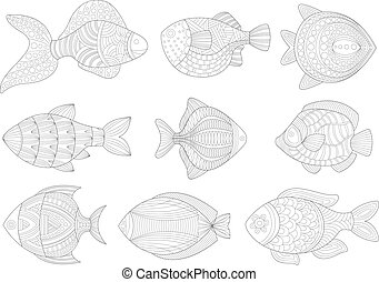 Tropical Fish Set Adult Zentangle Coloring Book Illustration