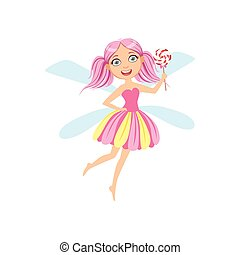 Cute Fairy With Lollypop Girly Cartoon Character.Childish...