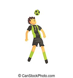 Football Player Getting Ball On The Head Isolated Illustration