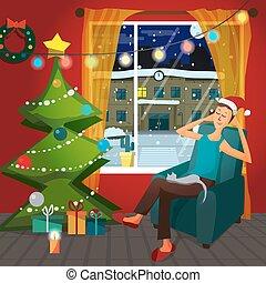 Christmas room interior. Christmas tree, gift and...