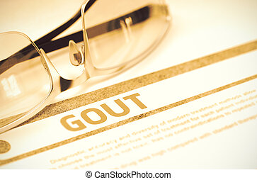 Gout - Printed Diagnosis on Red Background. 3D Illustration....