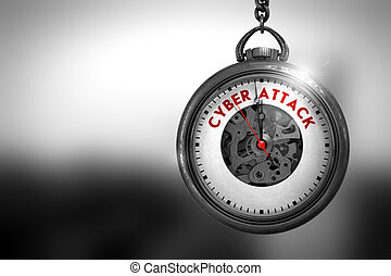 Cyber Attack on Pocket Watch. 3D Illustration. - Cyber...