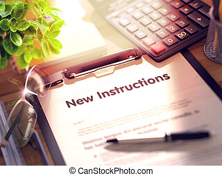 New Instructions - Text on Clipboard. 3D. - Office Desk with...