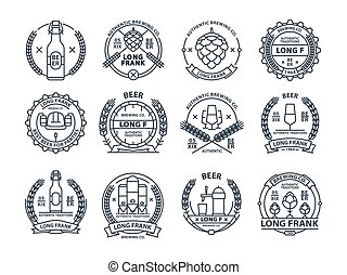 Outline colorless vector beer emblems, symbols, icons, pub...