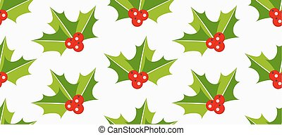 Holly berries seamless pattern. Vector illustration