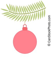 Christmas bauble on branch