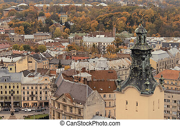 LVOV, UKRAINE - OCT. 20: Top view on a Mickiewicz Square...