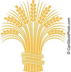 Ripe wheat sheaf. - Golden ripe wheat sheaf. Vector...