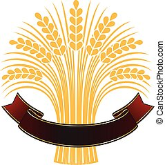 Ripe wheat sheaf with elegant brown banner. - Golden ripe...