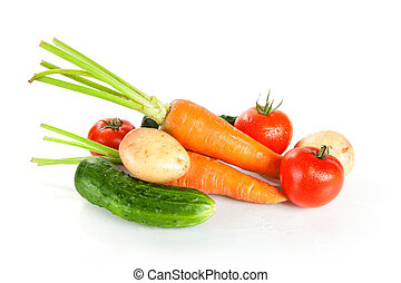 Fresh wet vegetables, studio shot