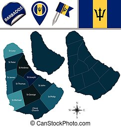 Map of Barbados with Parishes - Vector map of Barbados with...