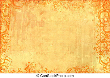 Old textured wallpaper with floral patterns - Old textured...