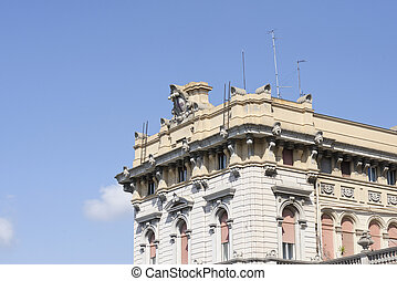hystorical building in genova - detail of hystorical...