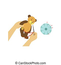 Child Making Toy Bear Illustration With Only Hands Visible From Above