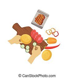 Child Cooking Burger Illustration With Only Hands Visible From Above