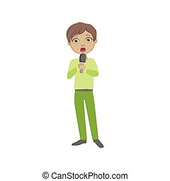 Boy In Green Outfit Singing In Karaoke. Bright Color Cartoon...