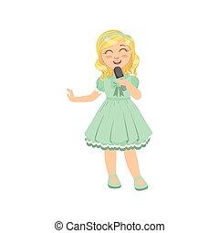 Blond Girl Singing In Karaoke. Bright Color Cartoon Simple...