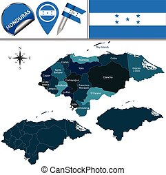 Map of Honduras with Named Departments