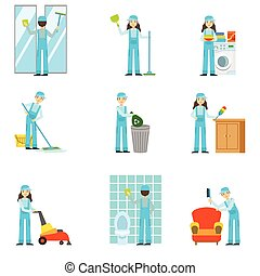 Professional Clean Up Service Set Of Illustrations