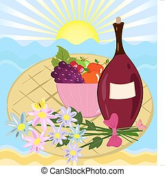 fruit flowers and a bottle of wine on the beach