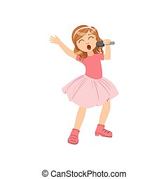 Girl In Pink Outfit Singing In Karaoke. Bright Color Cartoon...
