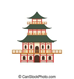Pagoda Japanese Culture Symbol. Isolated Object Representing...