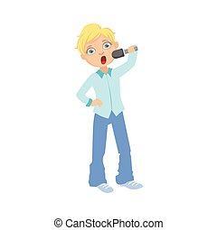Boy In Blue Outfit Singing In Karaoke. Bright Color Cartoon...