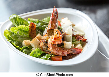 Grilled tiger prawn salad with bread