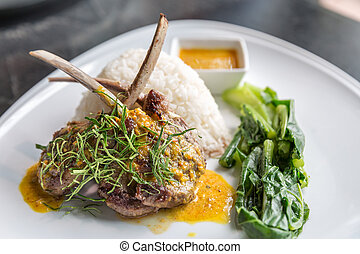 Grilled Lamb steak rice - Grilled Lamb steak with spicy...