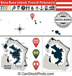 Map of Bora Bora island, French Polynesia - Vector of Bora...