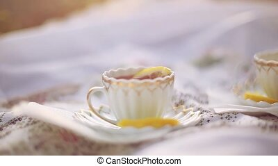 Tea cups outdoors at picnic during autumn on blurred...