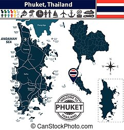 Map of Phuket Province, Thailand - Vector of Phuket...